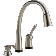 Pilar Pull-Down Kitchen Faucet with On/Off Touch Activation, Magnetic Docking Spray Head, and Soap/Lotion Dispenser - Includes Lifetime Warranty (5 Year on Electronic Parts)