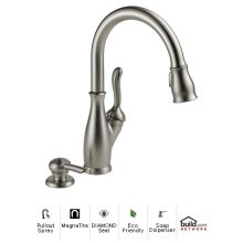 Leland Pullout Spray Kitchen Faucet with MagnaTite Docking, Diamond Seal and Touch Clean Technologies - Includes Soap Dispenser