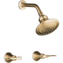 Double Handle Shower Only Trim and Valve with Single Function Shower Head from the Revival Series