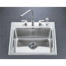 Ballad self-rimming utility sink with four-hole faucet punching and 10