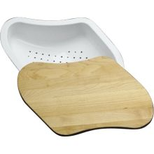 Colander and Hardwood Cutting Board For Ravinia and Understone Sinks