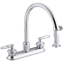 Double Handle Kitchen Faucet with Gooseneck Spout and Sidespray from the Coralais Series