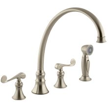 Double Handle Kitchen Faucet with Metal Scroll Lever Handles and Sidespray from the Revival Series