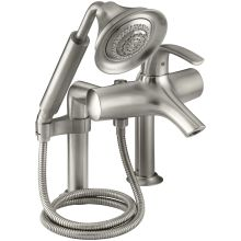 Single Handle Roman Tub Faucet with Metal Lever Handle and Handshower from the Symbol Series