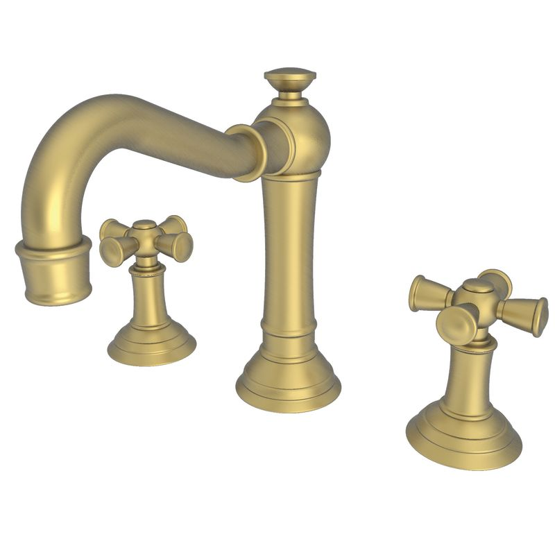 Newport brass 2460 06 antique brass double handle widespread bathroom faucet with metal cross Newport brass bathroom faucets