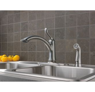 Delta-4453-DST-Installed Faucet in Arctic Stainless