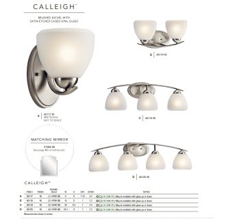 The Kichler Calleigh collection in Brushed Nickel from the Kichler catalog.