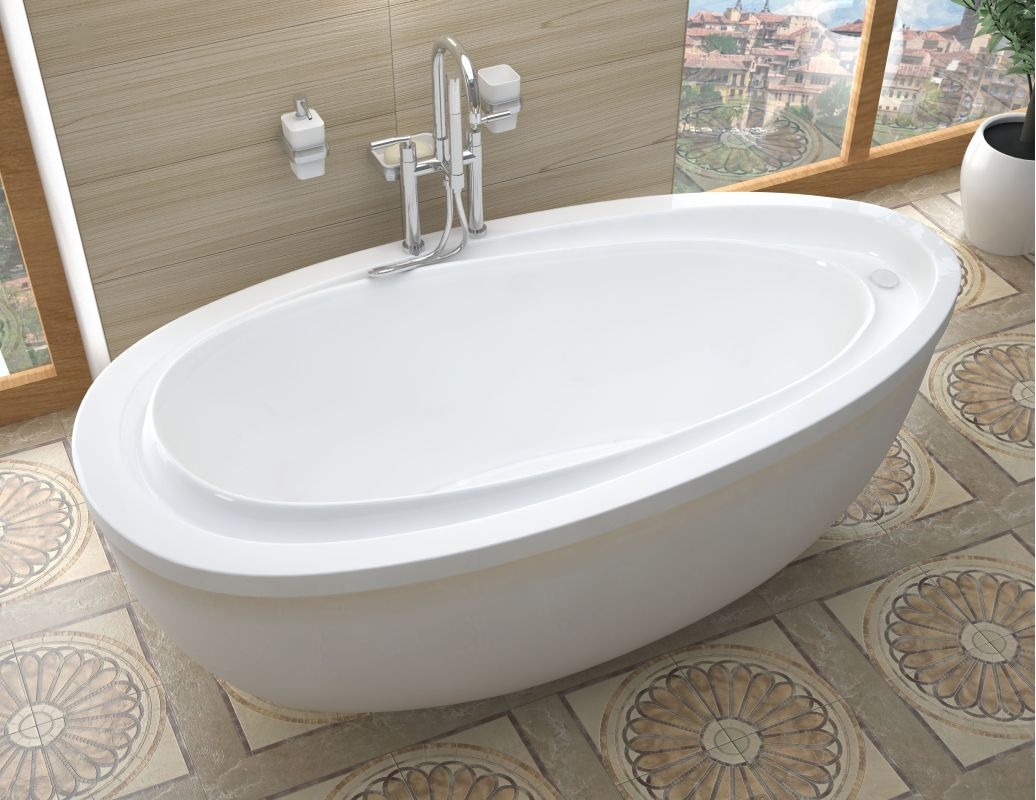 Avano av3871bs white corsica 71 acrylic soaking bathtub for Walk in tub water capacity