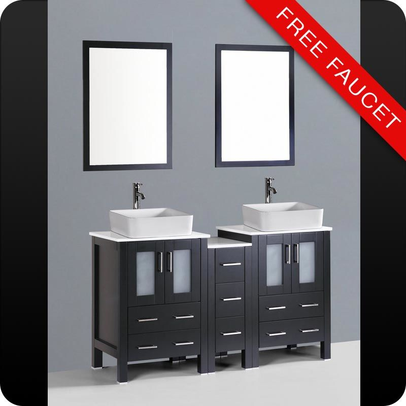 Bosconi Abrcs Espresso  Free Standing Vanity Set With Wood Cabinet Stone Composite Top