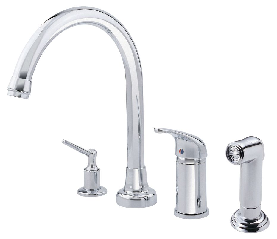 d409112 chrome kitchen faucet includes side spray and soap dispenser