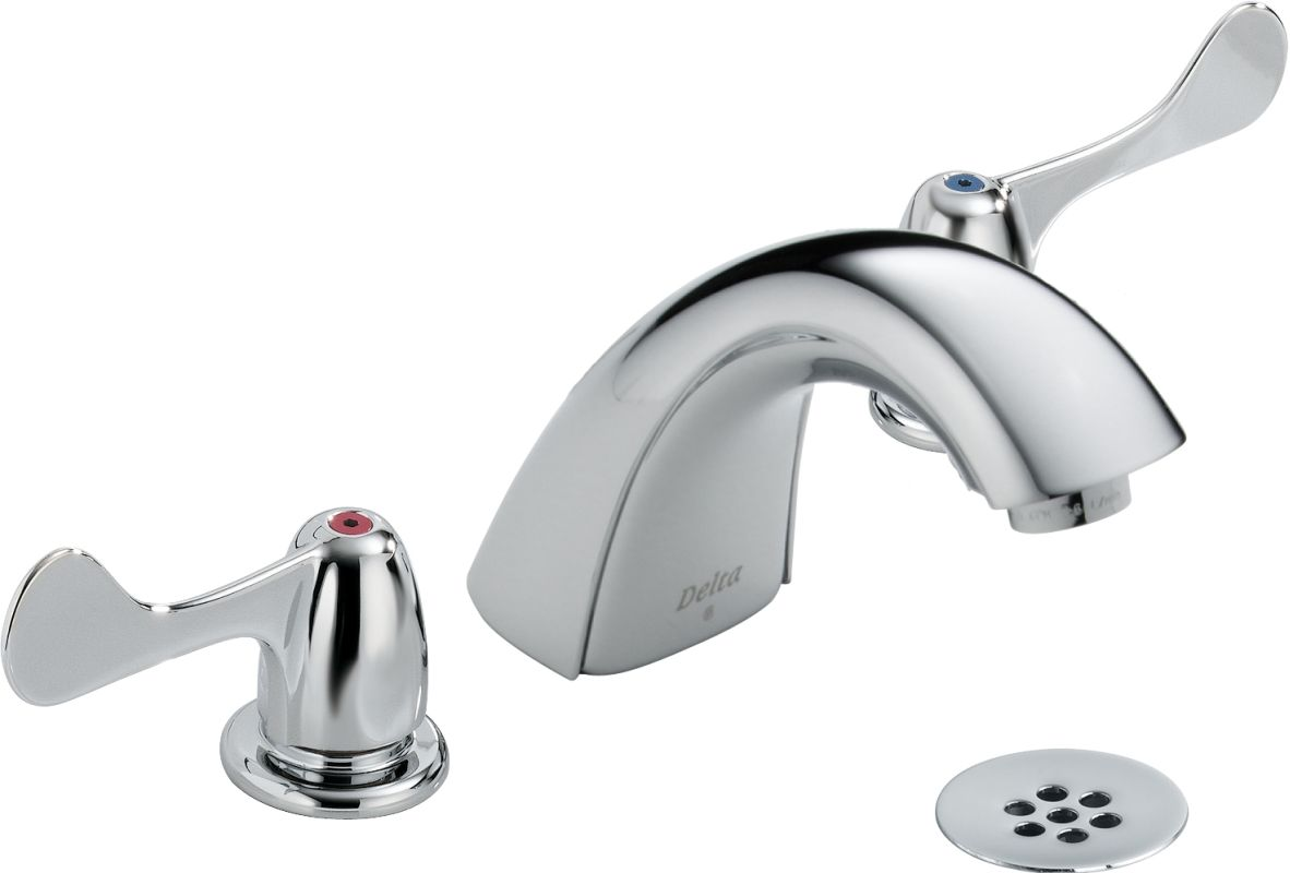 Delta Addison Chrome 2 Handle Widespread Watersense: Delta 3549LF-WFHDF Chrome Commercial Widespread Bathroom