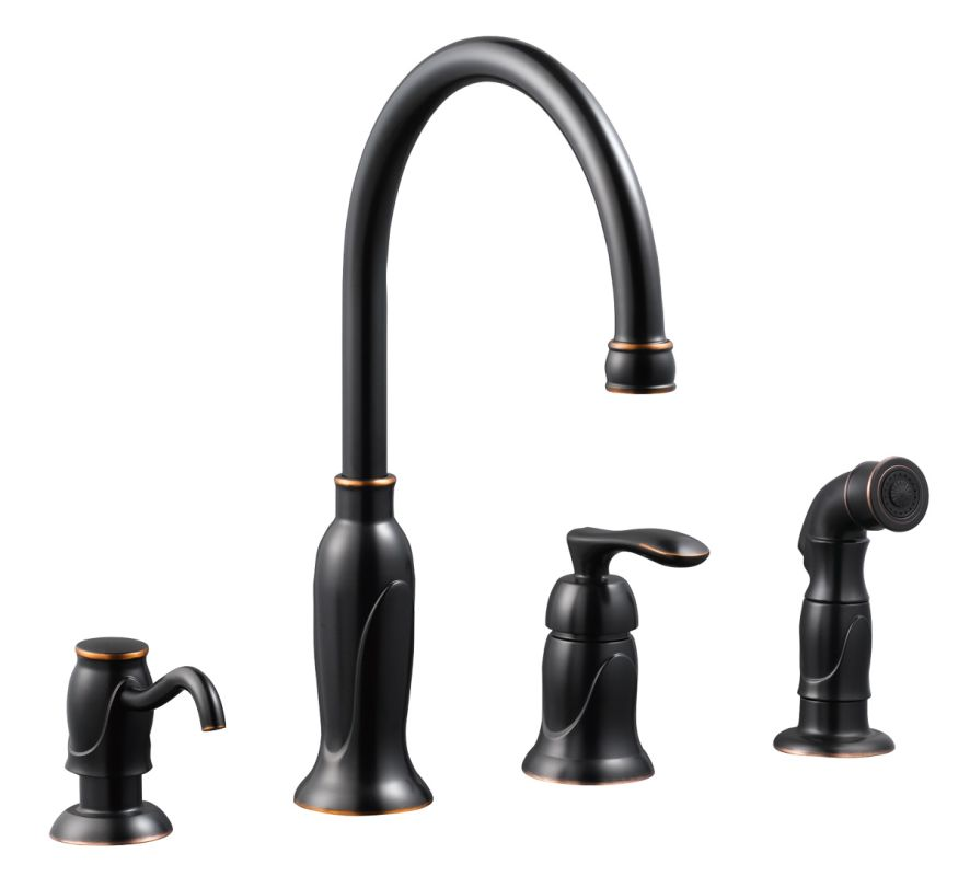 kitchen faucet with side spray soap dispenser