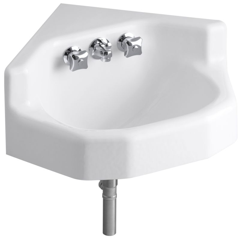 kohler k 2766 0 white marston 15 cast iron wall mounted bathroom sink with triton faucet pop. Black Bedroom Furniture Sets. Home Design Ideas