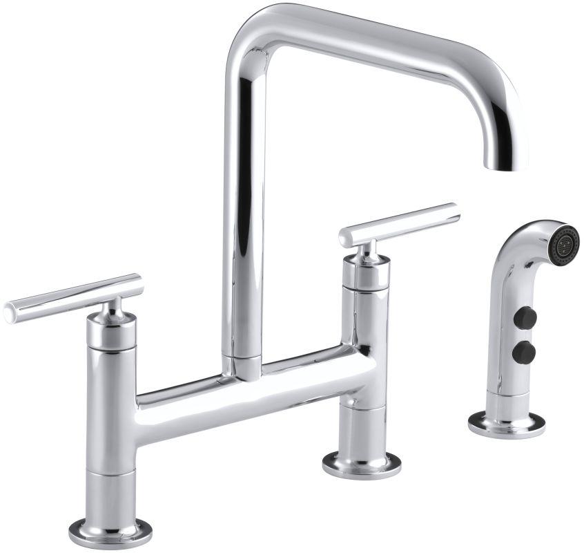 Kohler K 7548 4 Cp Polished Chrome Purist Double Handle Bridge Kitchen Faucet With Rotating