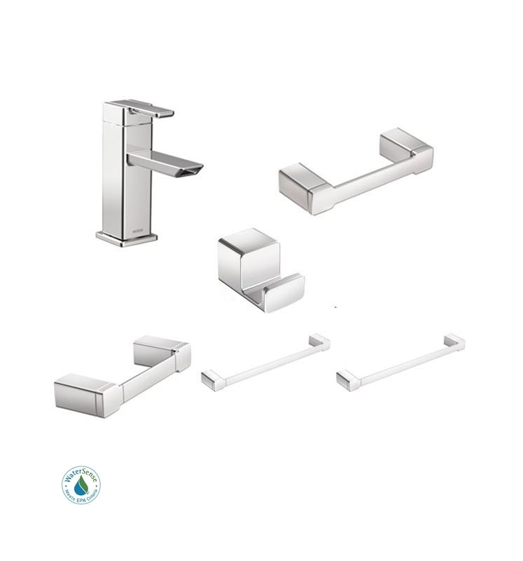 Moen 90 Degree Faucet And Accessory Bundle 3ch Chrome With Single Hole Bathroom Faucet Toilet