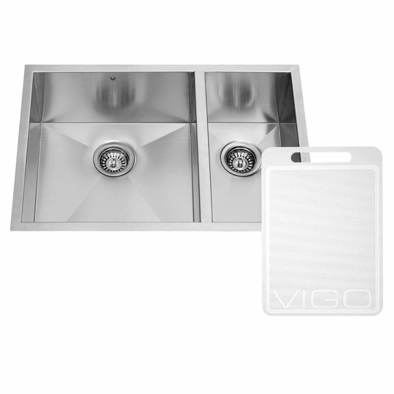 Vigo Vg2920bl Stainless Steel 29 Double Basin Undermount Stainless Steel Kitchen Sink With