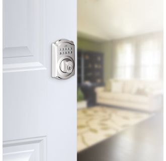 Schlage's BE365-CAM in Polished Chrome on door.