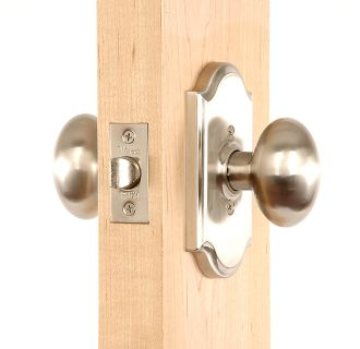 Julienne Series Knob Set in Satin Nickel Outside Angle View