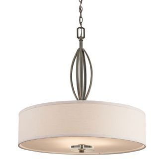 Kichler Oz Olde Bronze Leighton Three Bulb Indoor Pendant With Drum Shaped Fabric Shade