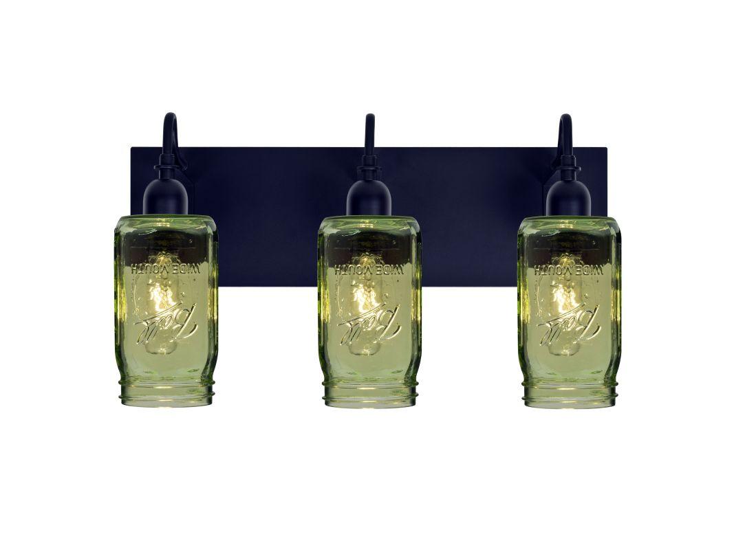 Besa Lighting 3WG-MILO4GR-BK Black Milo 3 Light Vanity Strip with Green Glass Jar Shades ...