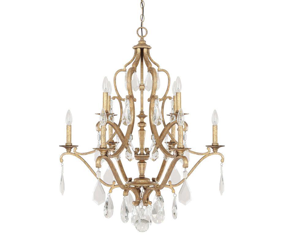 Capital Lighting 4180AG-CR Antique Gold Blakely 10 Light 32u0026quot; Wide Chandelier - LightingDirect.com