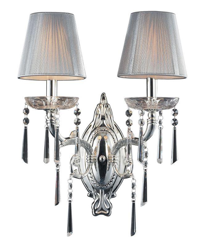 Elk Lighting Wall Sconce: Elk Lighting 2392/2 Polished Silver Crystal Up Lighting