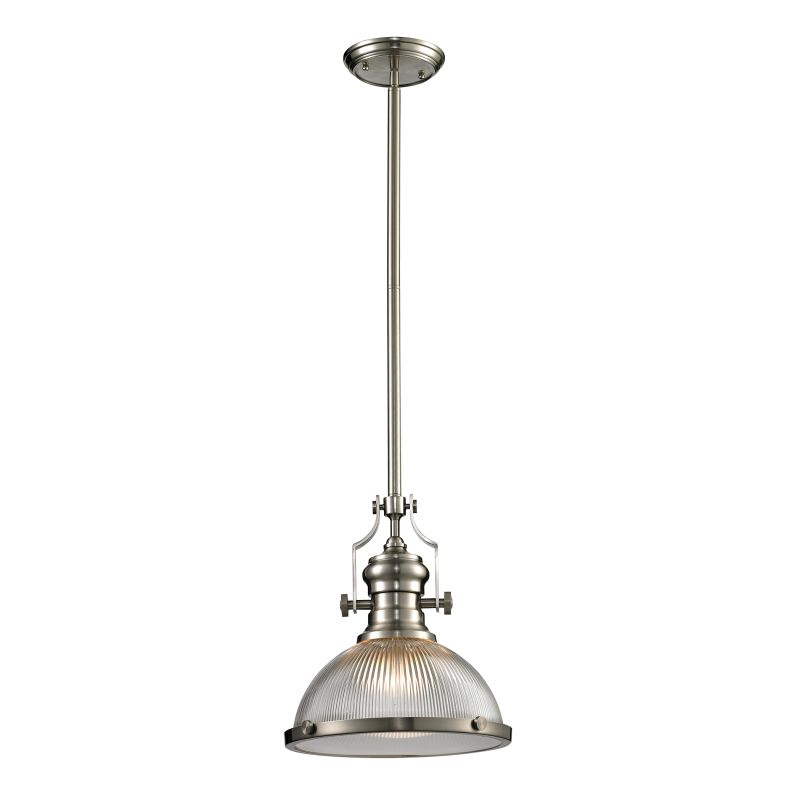 Elk Lighting Biplane Shape Pendant : Elk lighting satin nickel chadwick light bowl