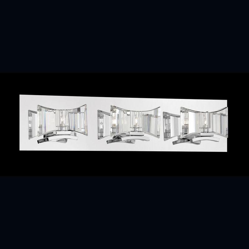 Eurofase Lighting 26348 018 Chrome Uzo 3 Light Crystal Bathroom Vanity Light