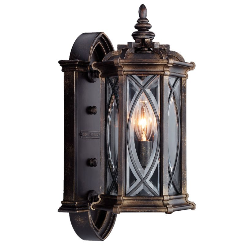 Leaded Glass Wall Sconces : Fine Art Lamps 612681ST Dark Wrought Iron Patina Warwickshire Single-Light Outdoor Wall Sconce ...
