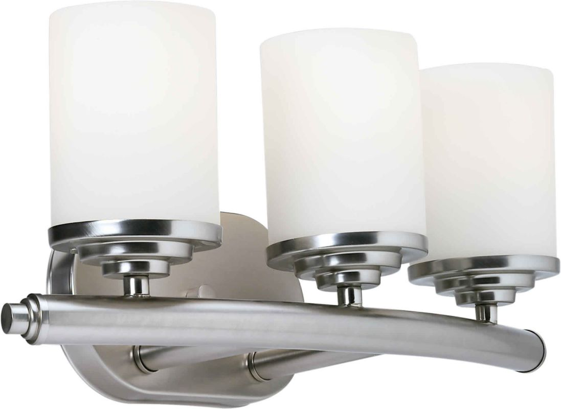 Shop Progress Lighting 3 Light Archie Chrome Bathroom: Forte Lighting 5105-03-55 Brushed Nickel 3 Light Wall