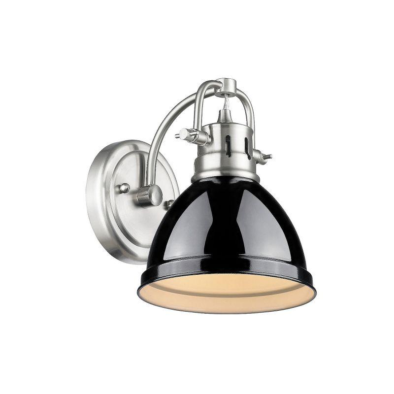Golden Lighting 3602 BA1 PW BK Black Duncan 1 Light Bathroom Sconce 7 Inche