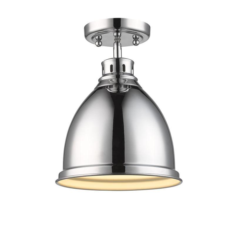 Golden Lighting 3602 FM CH CH Chrome Duncan 1 Light Semi Flush Indoor Ceiling