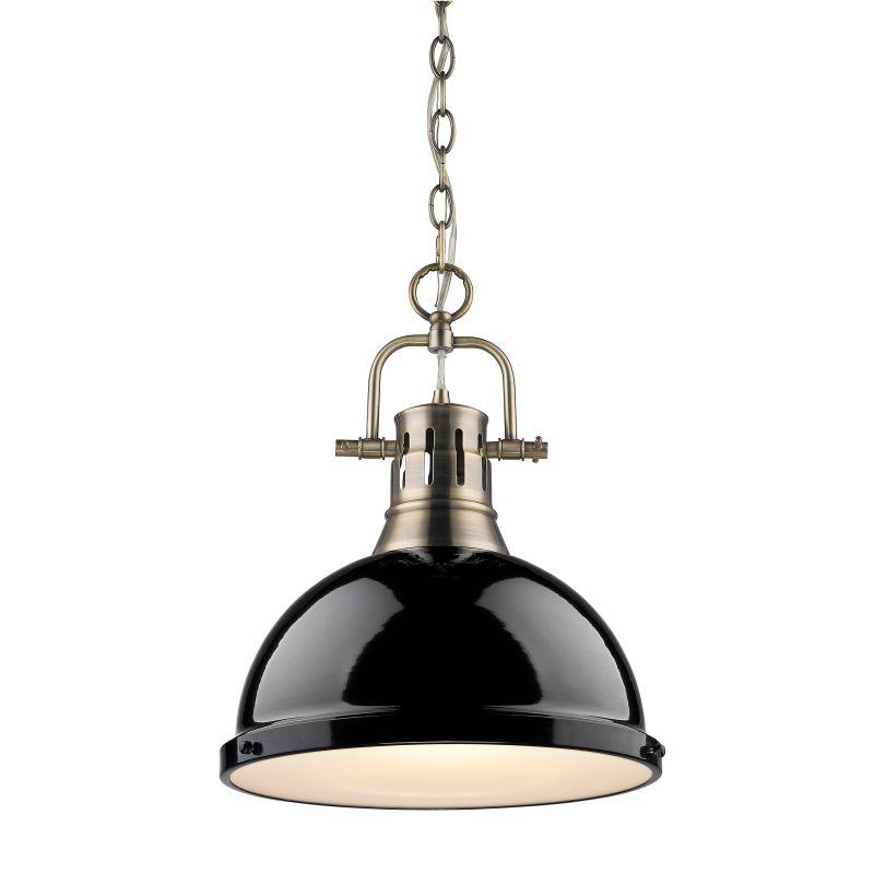 Golden Lighting 3602-L AB-BK Aged Brass Duncan 1 Light Industrial ...