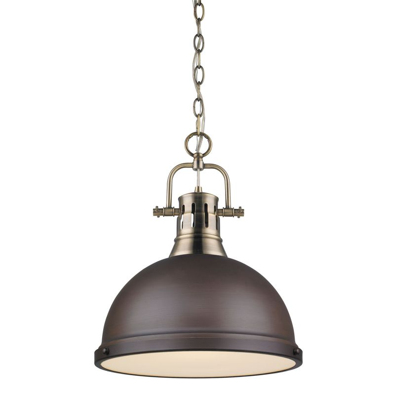 Golden Lighting 3602 L AB RBZ Aged Brass Duncan 1 Light Indoor Pendant 14 I