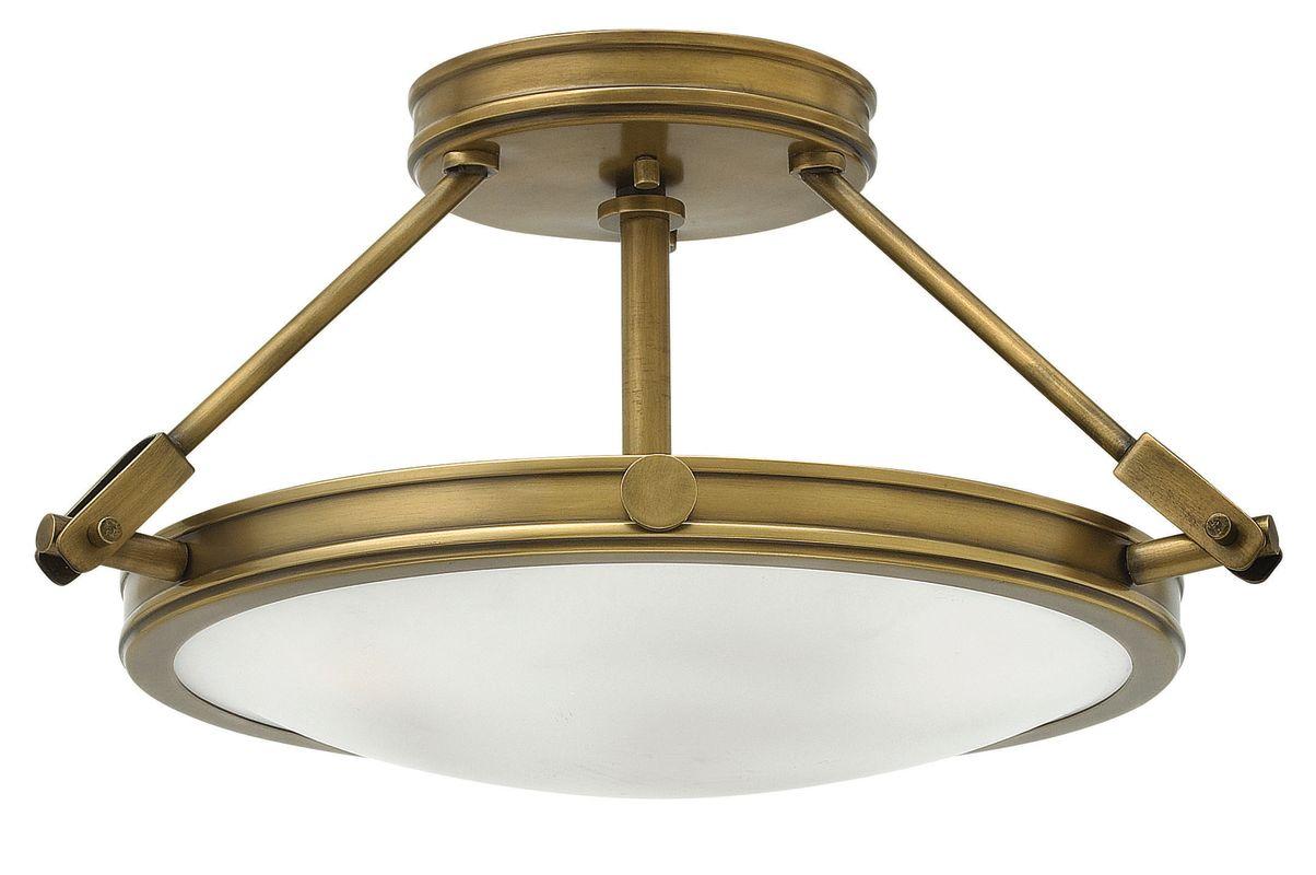 Semi Flush Ceiling Lights Glass Brass Fixture Bathroom: Hinkley Lighting 3381HB Heritage Brass 3 Light Semi-Flush