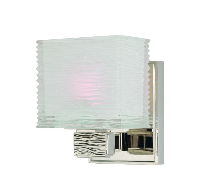 Wavy Glass Vanity Light : Hudson Valley Lighting 4661-PN Polished Nickel Single Light Up Lighting Bath Vanity with Wavy ...