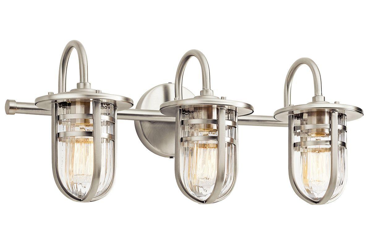 """Bathroom Vanity 3 Light Fixture Brushed Nickel Bell Wall: Kichler 45133NI Brushed Nickel Caparros 3 Light 24"""" Wide"""