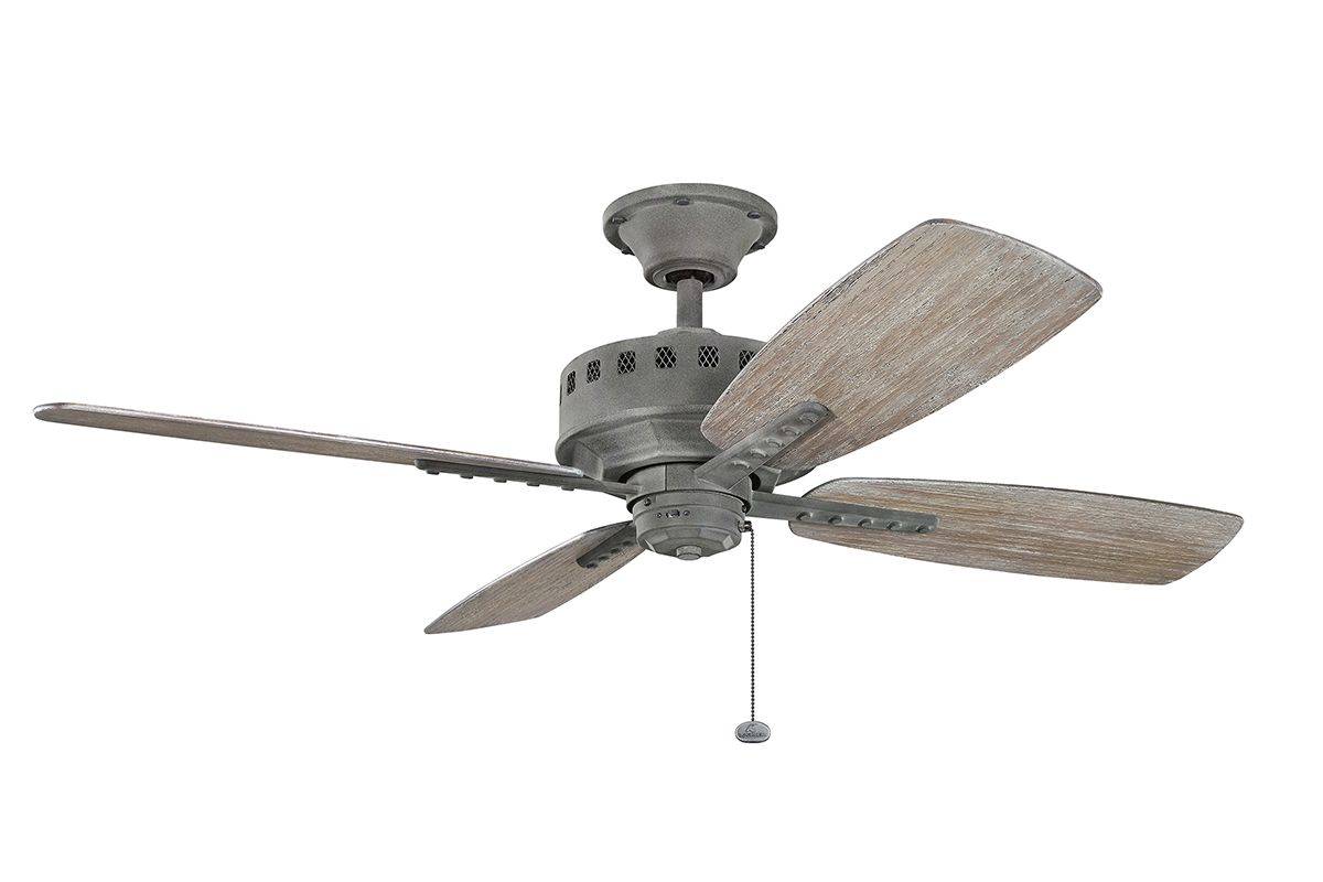 Kichler 310135WZC Weathered Zinc 52u0026quot; Indoor Ceiling Fan with Blades and Pull Chain ...