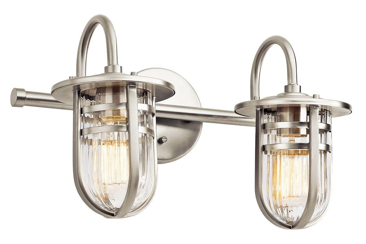 "Hampton Bay Dakota Collection 3 Light Bathroom Vanity: Kichler 45132NI Brushed Nickel Caparros 17.5"" Wide 2 Light"