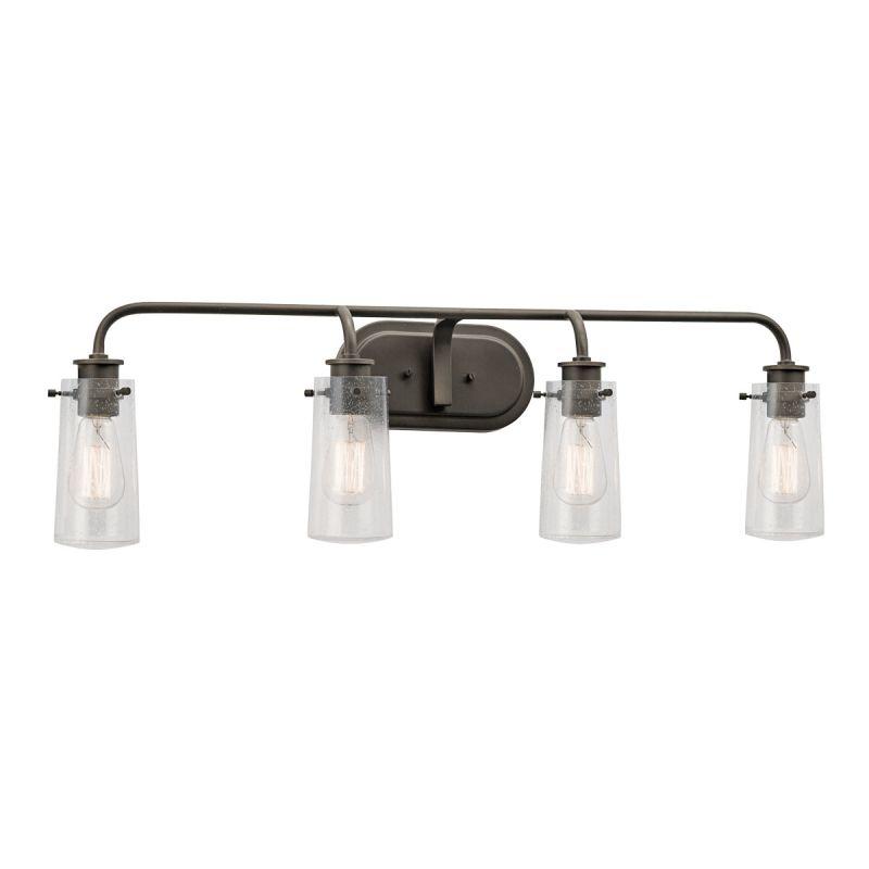 Vanity Light Fixture Glass Shade : Kichler 45460OZ Olde Bronze Braelyn 4 Light 34
