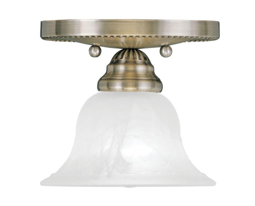 Livex Lighting 1530-01 Antique Brass Edgemont Semi-Flush