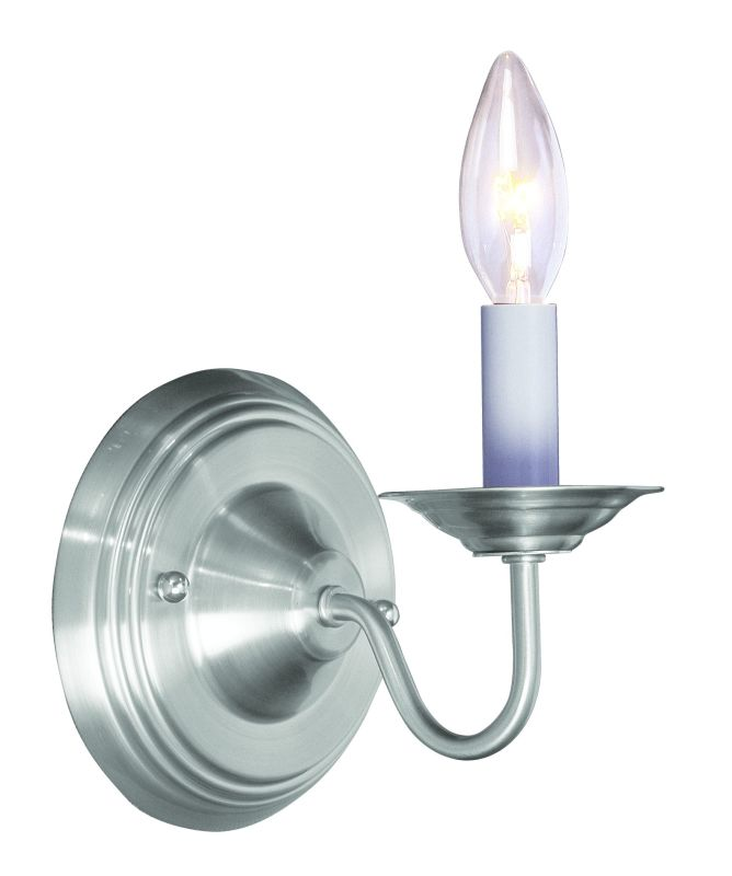 Livex Lighting 5017 91 Brushed Nickel 1 Light 60 Watt 5 Wide Wallchiere