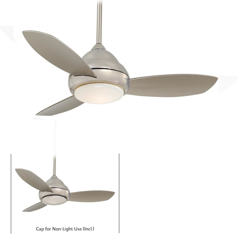 Minkaaire F516 Pn Polished Nickel 3 Blade 44 Quot Concept I Ceiling Fan Integrated Light Handheld