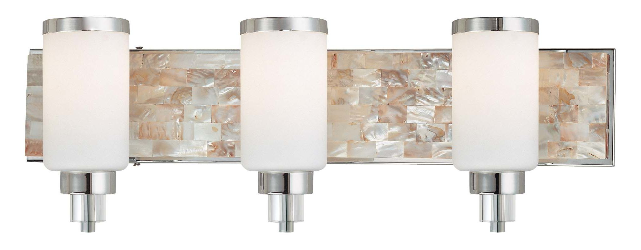 Mount Vanity Light Up Or Down : Minka Lavery 3243-77 Chrome with Natural Shell 3 Light 25.5