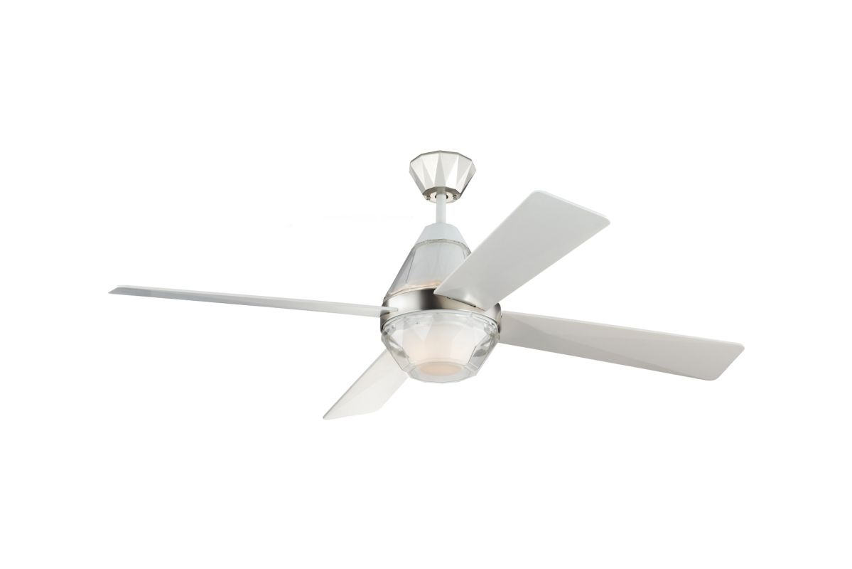 Monte Carlo 4DDR52PND Polished Nickel Diamond 4 Blade 52u0026quot; LED Indoor Ceiling Fan - Light Kit ...
