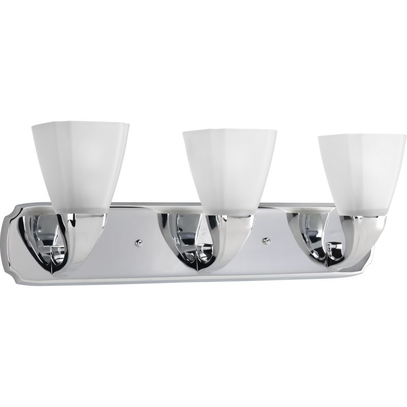 Bathroom Vanity Lights Point Up Or Down : Progress Lighting P2848-15 Polished Chrome Addison 3 Light Bathroom Vanity Light with Etched ...