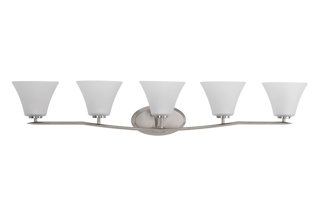 Progress Lighting Rizu Collection 3 Light Brushed Nickel: Progress Lighting P2016-09 Brushed Nickel Bravo 5 Light