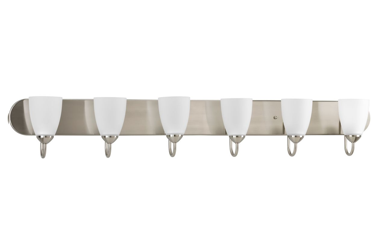 Progress Lighting P2714 09 Brushed Nickel Gather 6 Light Bathroom Vanity Ligh