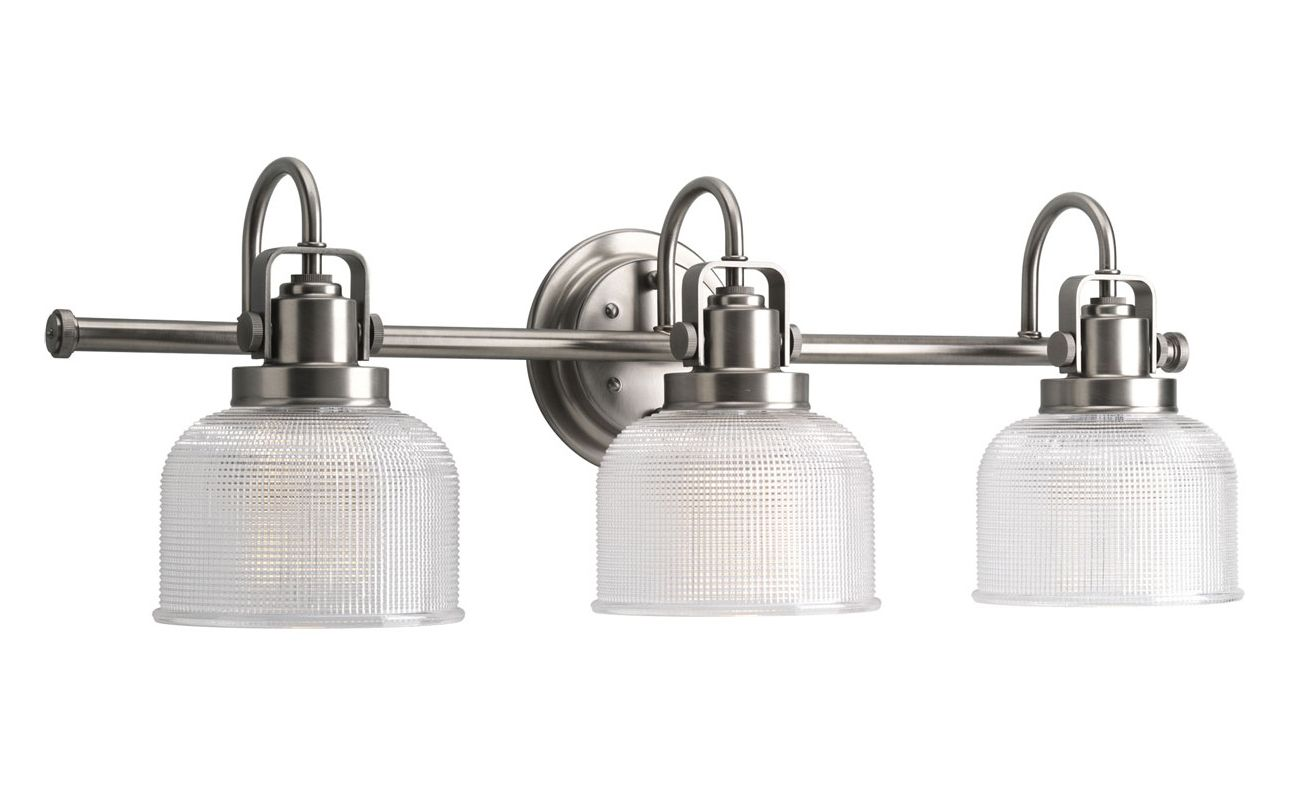 Progress Lighting Rizu Collection 3 Light Brushed Nickel: Progress Lighting P2992-81 Antique Nickel Archie 3 Light