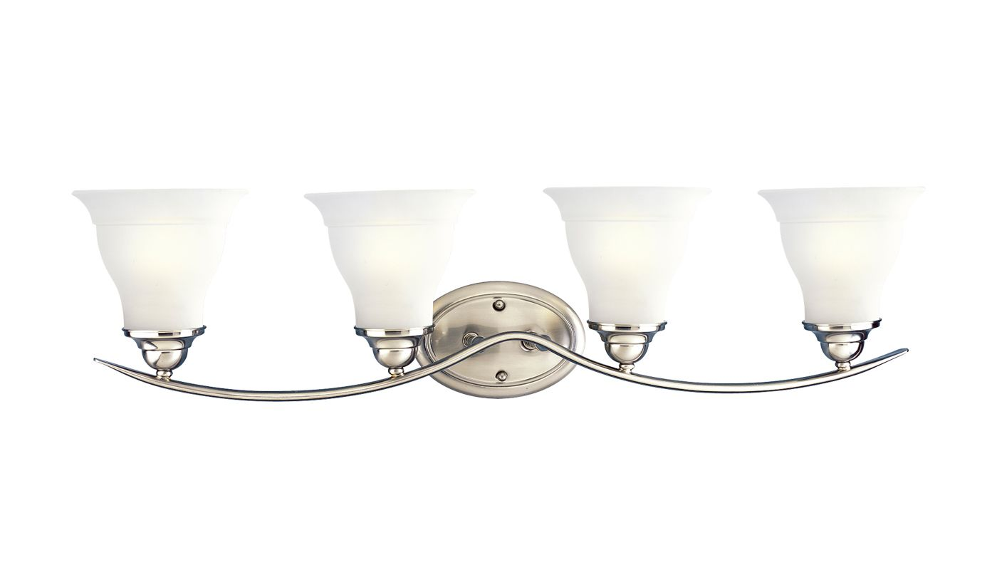 Progress Lighting P3193-09 Brushed Nickel Trinity 4 Light Bathroom Vanity Light with Etched ...